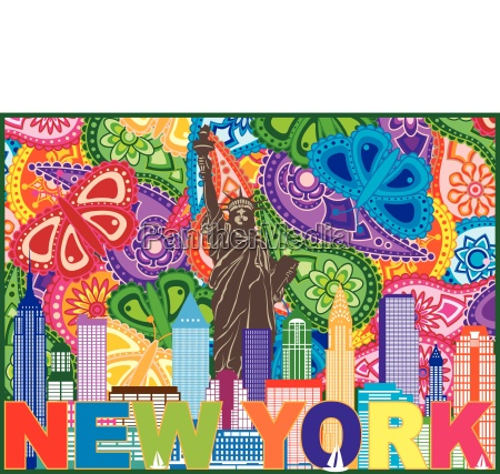 new york skyline text paisley pattern