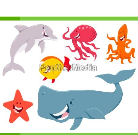 zestaw kreskowka morze zwierzeta zycie