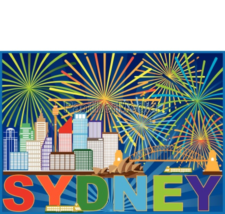 sydney australia skyline fireworks illustration