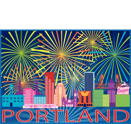 portland skyline fireworks color illustration