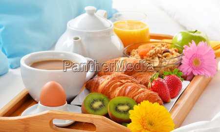 breakfast tray in bed in hotel