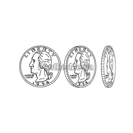 monety amerykanskie dollar moneta spinning rysunek