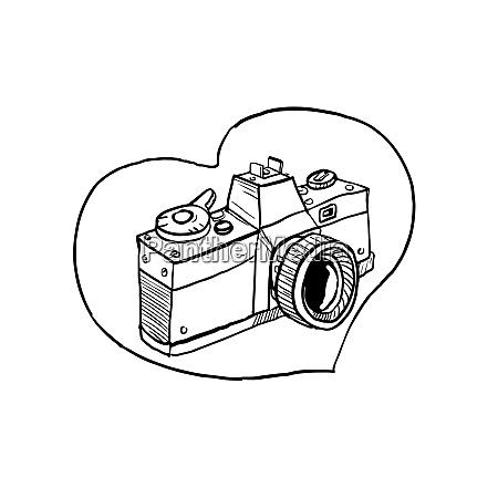 rocznika 35mm slr camera serce rysunek