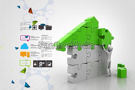 3d man building the house