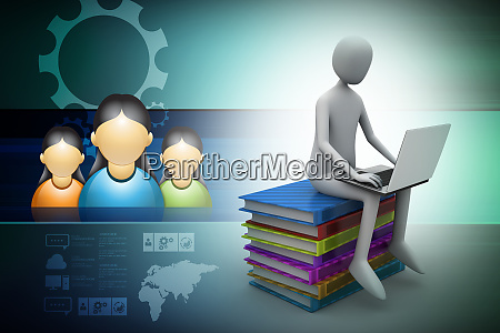 3d man sitting on books and