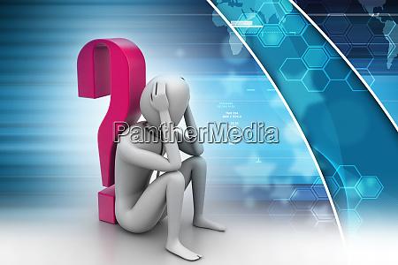 3d, mężczyzna, siedzi, w, pobliżu, znaku - 25895498
