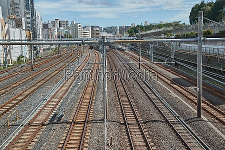 railway tracks in a city