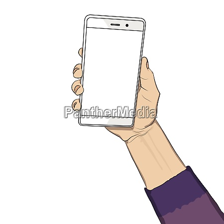 hand holding white cellphone with white