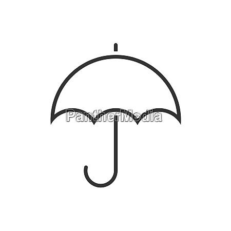 ikona linii parasola na bialym tle