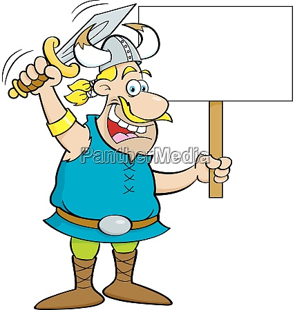 cartoon illustration of a viking waving
