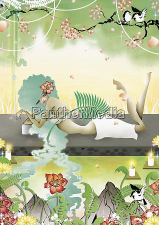 kobieta relaks w naturalnym spa