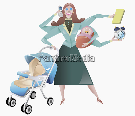 woman juggling domestic obligations