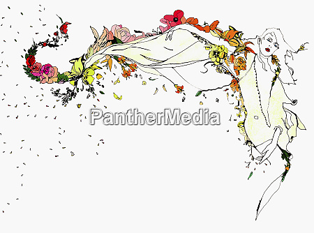 woman and flowing flowers