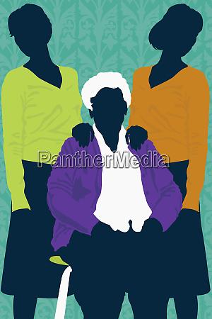 elderly women with daughters