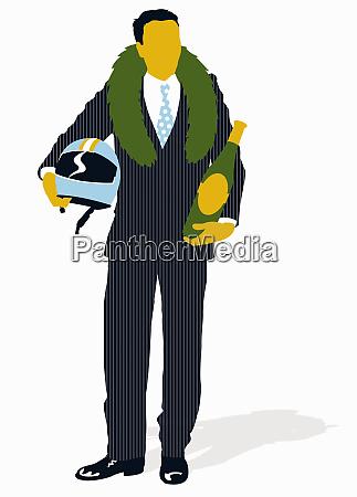 biznesmen noszenie wieniec laurowy zwyciestwa i