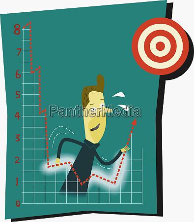 biznesmen pchajacy wykres finansowy w kierunku