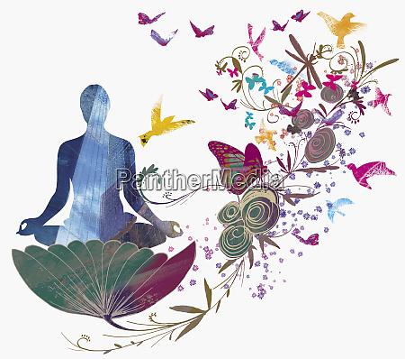 woman sitting in flower meditating