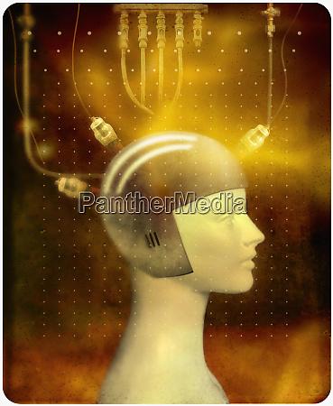 osoba w helm kontroli mysli