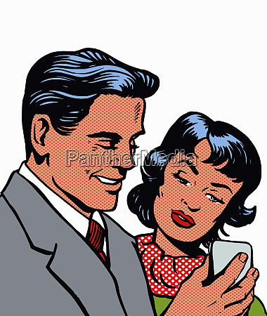 man and woman reading message on