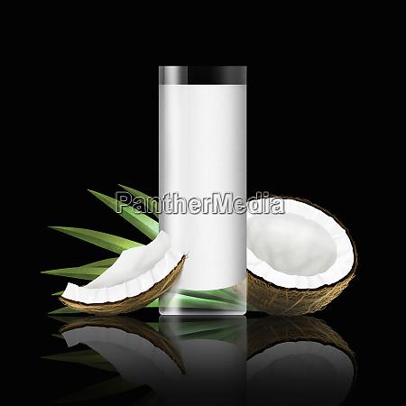 glas kokosmilch mit kokosnussstuecken