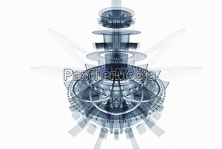 zdemontowana futurystyczna maszyna high tech