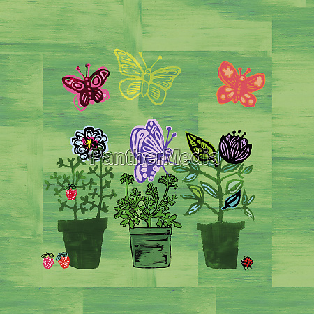 butterflies above flowerpots and strawberry plant