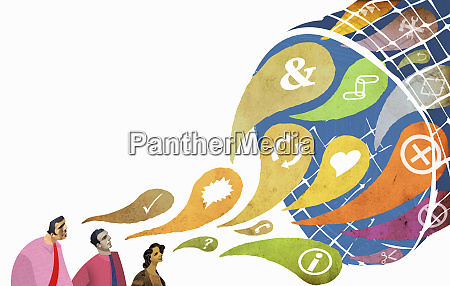 businessmen and symbols flowing into net