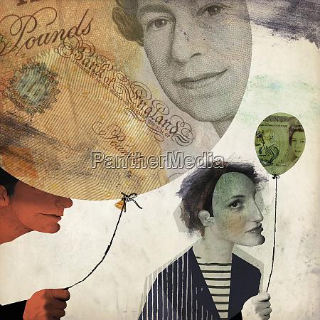 man holding large british banknote balloon