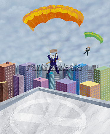 businessmen in parachutes landing on rooftop