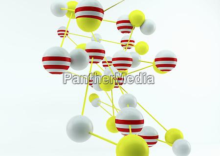 abstrakcyjna polaczona siec kolorowych kulek i