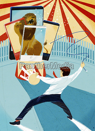 businessman taming lion images on cell