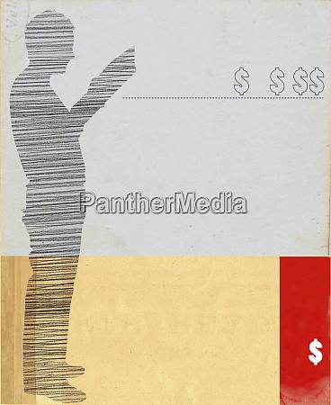 sylwetka czytania czlowieka i symbole dolara