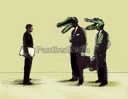 biznesmeni spotkanie biznesmenow z krokodyli glowy