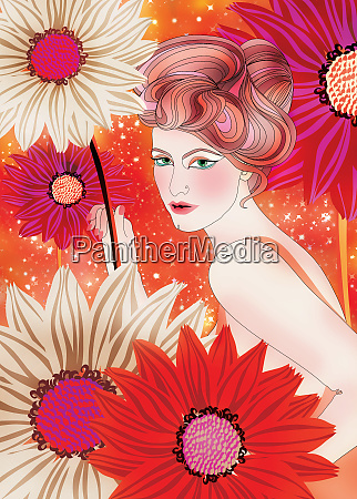 beautiful woman with large flowers