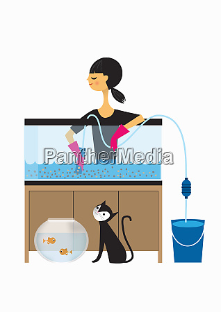 kobieta czyszczenie zbiornika ryb