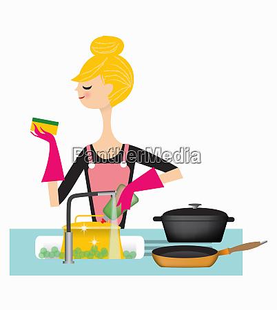 kobieta do mycia patelni w zlewzie