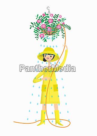 kobieta ubrana w kapelusz przeciwdeszczowy plaszcz