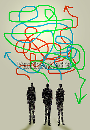 three businessmen talking with confused tangled