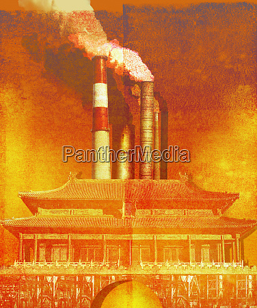 luftverschmutzung durch kraftwerksschornsteine hinter chinesischem tempel