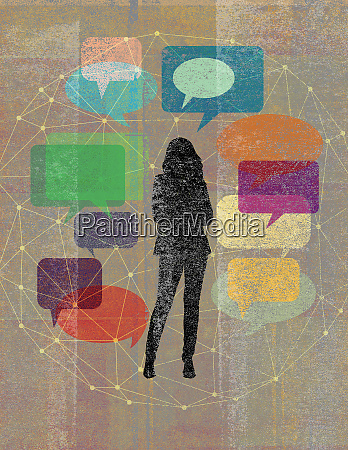 young woman surrounded by network of