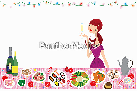 happy woman drinking champagne at healthy
