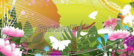 silhouette of happy woman holding butterfly