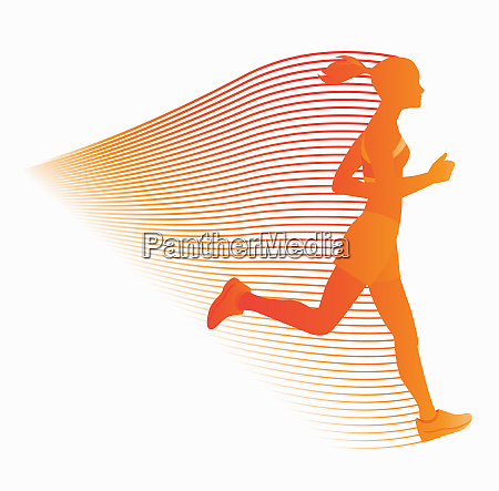 flowing lines connected to woman running