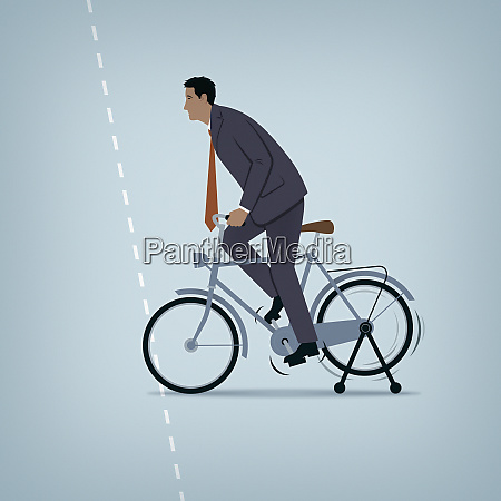 ineffective businessman struggling to cycle with