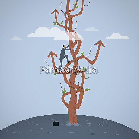 businessman climbing tree of tangled arrows