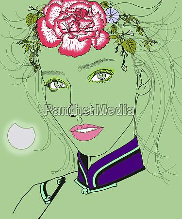 capricorn woman zodiac sign with flowers