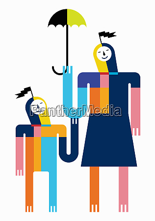 smiling multicolored mother and son with