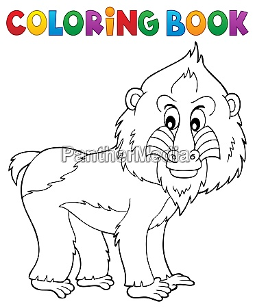 coloring book mandrill theme 1