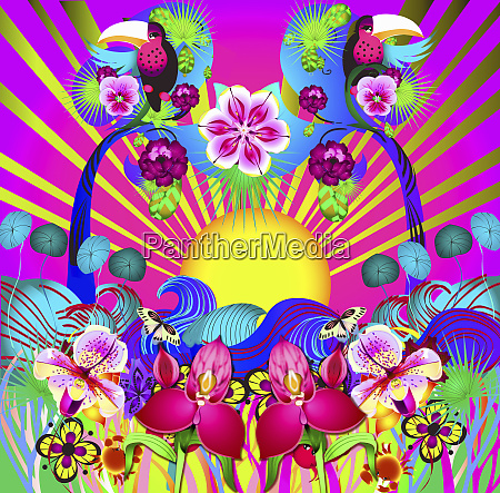 bright colorful psychedelic sunbeam flowers and