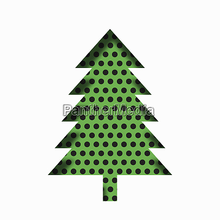 single paper cut effect christmas tree